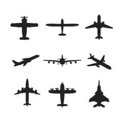 Different vector airplanes icon set