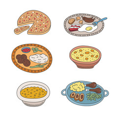 Set of vector pied doodle food icons in flat style