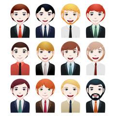 businessman avatar set