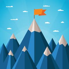 Vector success concept with mountain landscape