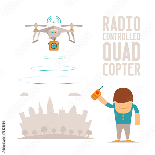 Vector concept of quadcopter air drone with remote control - 73875584