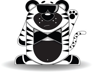 Cartoon illustration of a tiger with a mysterious expression