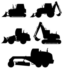 car equipment for construction work black silhouette vector illu