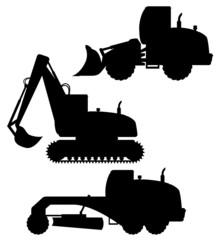 car equipment for road works black silhouette vector illustratio