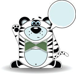 Cartoon illustration of surprised tiger with a white sign