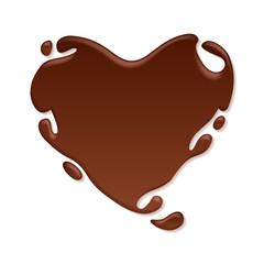Chocolate heart splash. Sweet background.