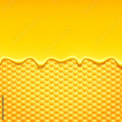 Yellow pattern with honeycomb and honey drips. - 73875970