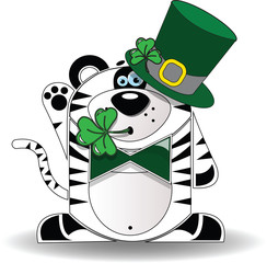 St Patricks Day Tiger Wearing A Hat And Chewing On A Clover