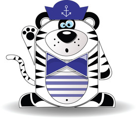 Tiger sailor on a white background
