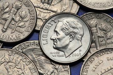 Coins of USA. US dime. Franklin D. Roosevelt