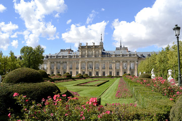 Palace, garden and flowers in foreground
