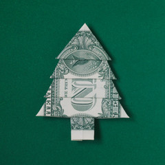 Dollar Bill Origami Christmas Tree