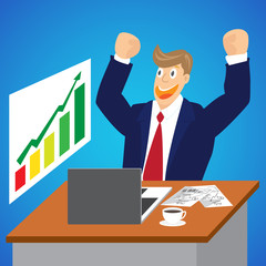 Illustration of Cheering businessman for stock market at desk