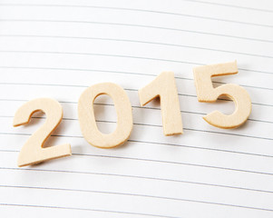 2015 sur page de papier ligné