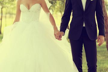 Beautiful wedding theme, holding hands newlyweds