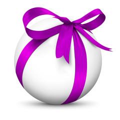 Kugel, Geschenk, Weihnachtskugel, weiße Kugel, Geschenkschleife