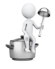 3D man sitting on saucepan