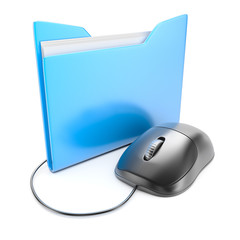 Computer mouse with folder