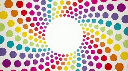 Abstract background with colorful rotating polka dots endless lo