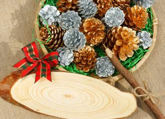 Christmas pine cone, Xmas card,  Noel message