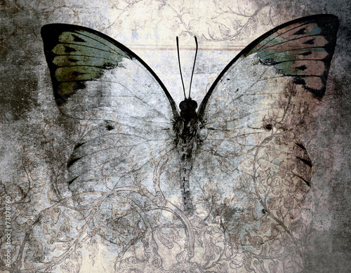 Deurstickers Vlinders in Grunge butterfly