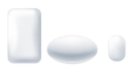 Set of bubble gum mint dragee.