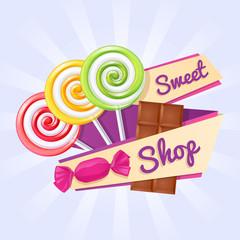 Sweet shop poster with candies and chocolate bar.