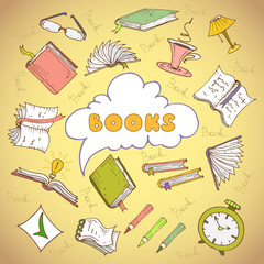 Vector illustration with books and book attributes