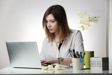 Young woman working with computer -