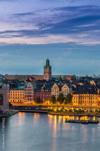 Foto op Aluminium Oude gebouw Scenic summer night panorama of Stockholm, Sweden