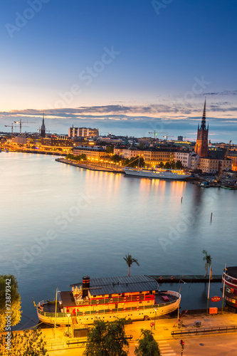 Scenic summer night panorama of  Stockholm, Sweden - 73879342