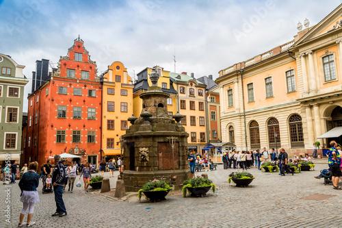 Leinwanddruck Bild Stortorget place in Gamla stan, Stockholm
