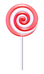 Red and white candy. Fruit lollipop.