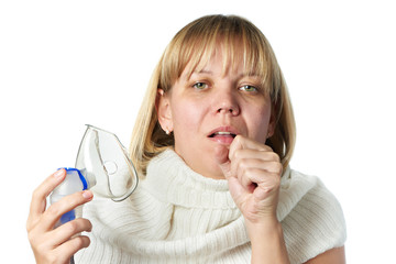Sick cough woman holding inhaler isolated
