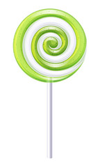 Green and white candy. Apple or lime lollipop.