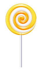 Yellow and white candy. Lemon or orange lollipop.
