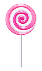 Pink and white candy. Strawberry lollipop.