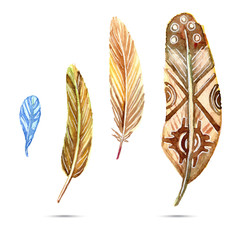 Set of ethnic watercolor feathers