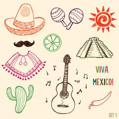 Hand drawn Mexico simbols set