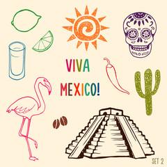 Hand drawn Mexico simbols set.