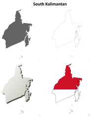 South Kalimantan blank outline map set