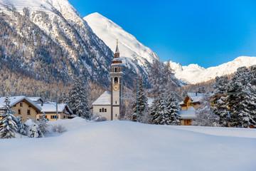Village of Bever, switzerland in the winter