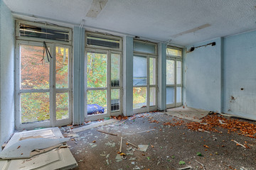 Inside the destroyed house on the edge of the forest