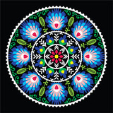 Polish traditional folk art pattern in circle -  Wzory Lowickie - 73881787