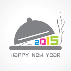 creative New Year 2015 design with restaurant concept
