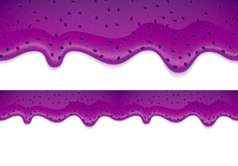 Drips of blueberry jam. Horizontal border.