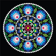 Polish traditional folk art pattern in circle -  Wzory Lowickie