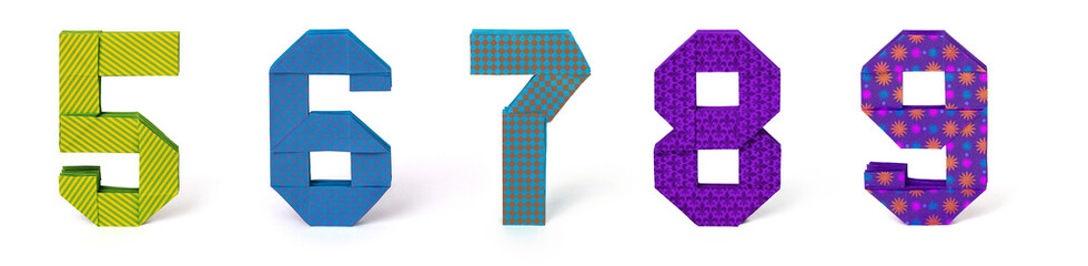 Origami paper numbers set