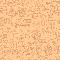 Vector pattern with symbols of travel on light background