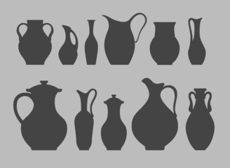 Vector silhouettes of pitchers and vases. Isolated crockery